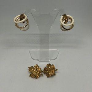 Vintage 2 Pair Trifari Clip Earrings